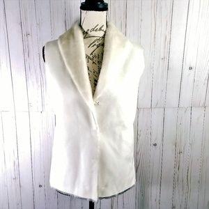 RALPH LAUREN Winter White Faux Suede & Fur Vest